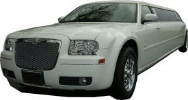 White Chrysler limo for hire, School Proms, Birthday celebrations and anniversaries. Cars for Stars (Oxford)
